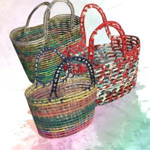 Canastas de hoja de palma y material reciclado – Qom Alphi