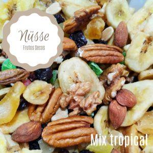 Mix Tropical (almendra, nuez, mani, pasas de uva, banana, anana) «NUSSE» – 250 gr