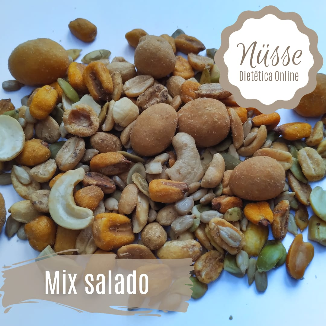 Mix Salado «NUSSE» – 250 gr (castanas de caju, mani salado, mani recubierto, maiz tostado, girasol, zapallo)